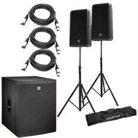 """(2) Electro-Voice ZLX-15P 15"""" Powered Loudspeakers Packaged with Electro-Voice ELX118P 700 Watt 18"""" Powered Subwoofer + Speaker stand + (2) XLR to XLR Cables 15ft"""