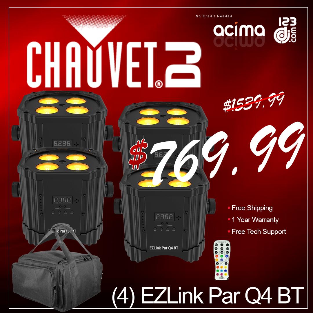(4) Chauvet DJ EZ Link Par Q4 BT