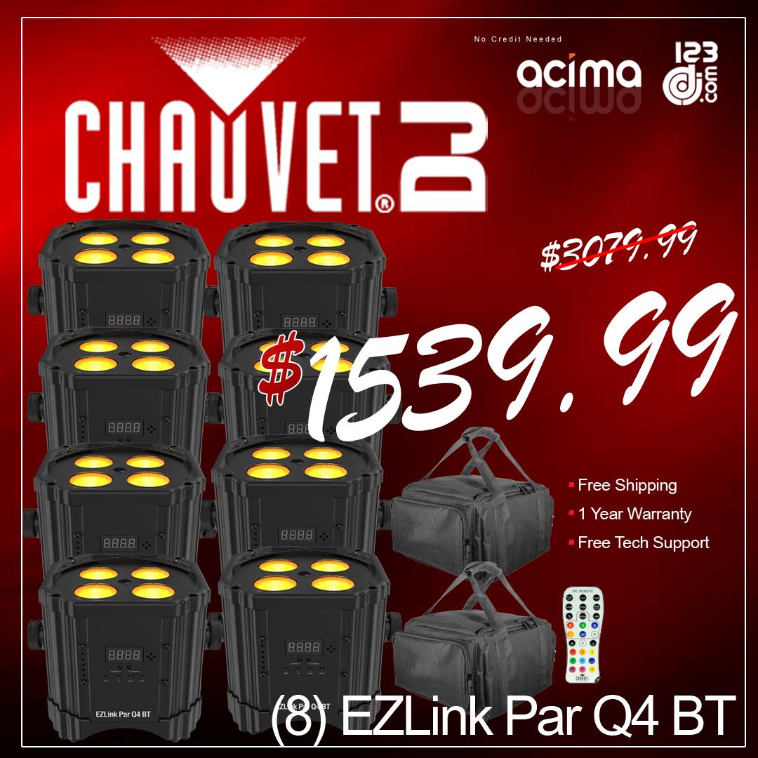 (8) Chauvet DJ EZ Link Par Q4 BT