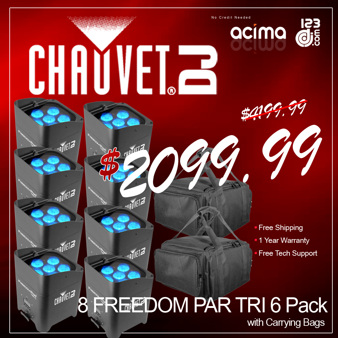 CHAUVET DJ 8 FREEDOM PAR TRI 6 Pack with Carrying Bags
