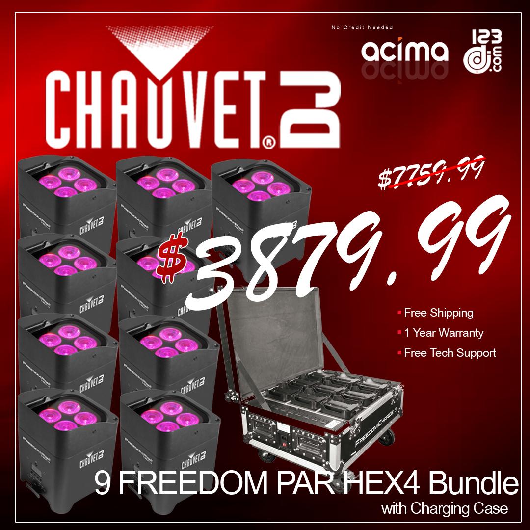 CHAUVET DJ 9 FREEDOM PAR HEX4 Bundle with Charging Case